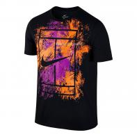 Тенниска Мужская NIKE Court Dry Graphic Tee Чёрный/Цветной Принт